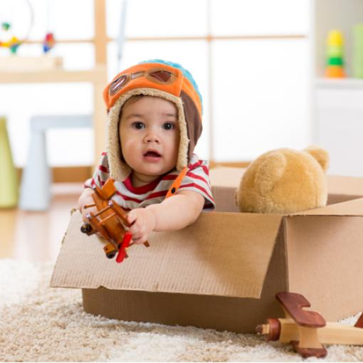 Kid flying in box